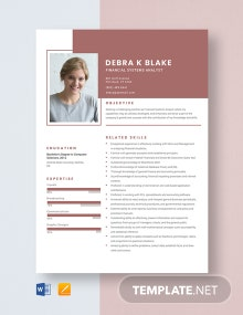 Financial Systems Analyst Resume Template