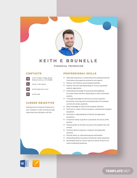 Financial Technician Resume Template