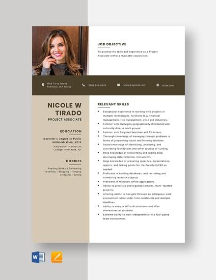 Project Associate Resume Template