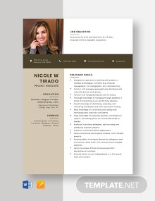 Project Associate Resume Template