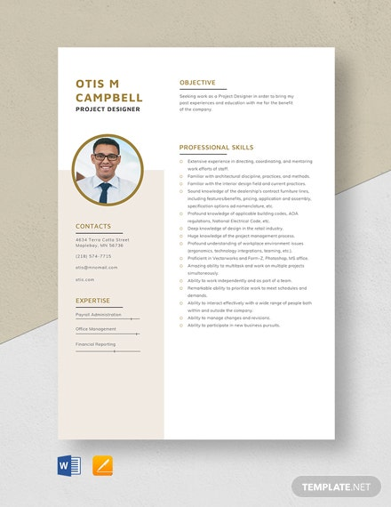 Project Designer Resume Template