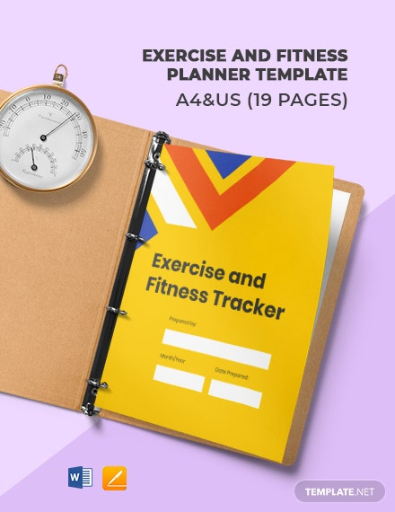Exercise And Fitness Planner Template