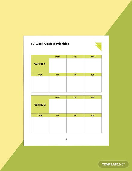 Week Fitness Planner Template Example