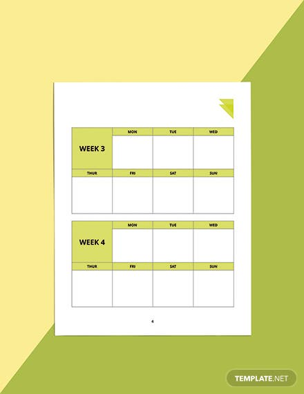Week Fitness Planner Template Format