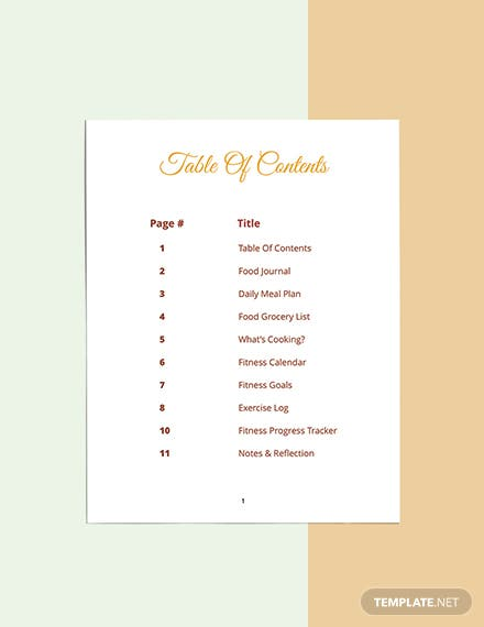 Food And Fitness Planner Template Download