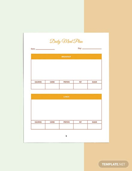 Food And Fitness Planner Template Example
