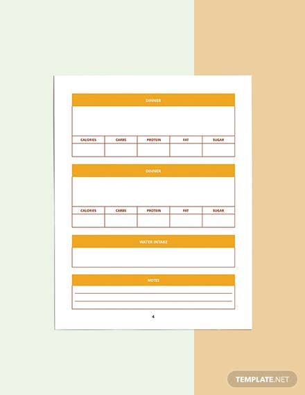 Food And Fitness Planner Template Format