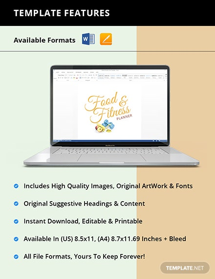Food And Fitness Planner Template Instruction