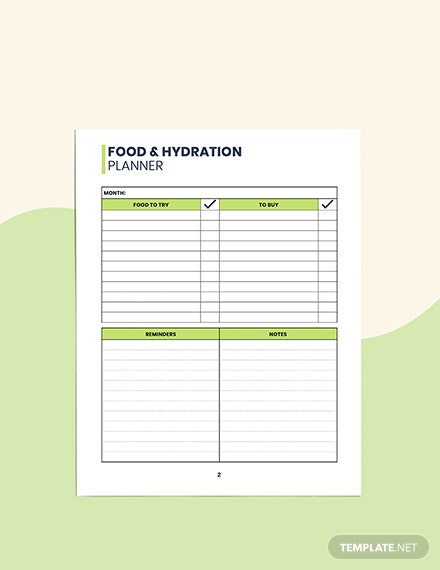 Food  Hydration Planner Format