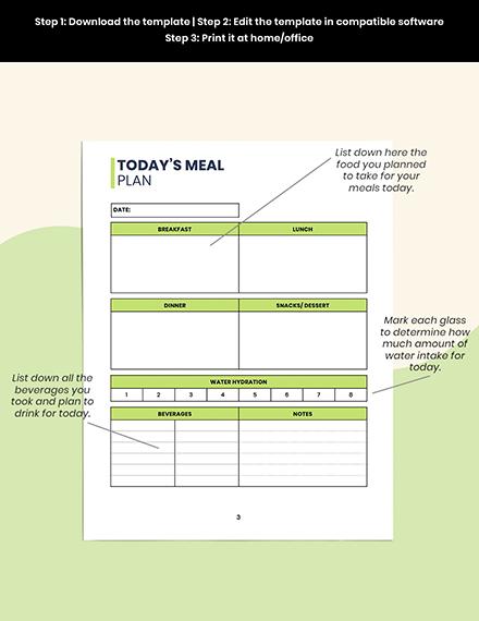 Food  Hydration Planner Printable