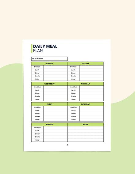 Sample Food  Hydration Planner