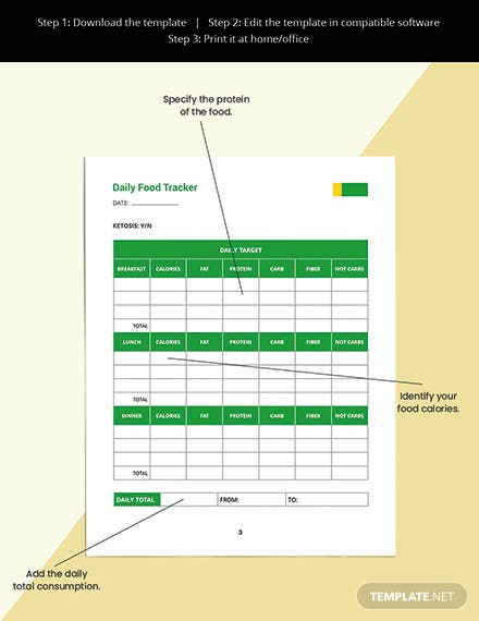 Daily Food Planner Template Readable