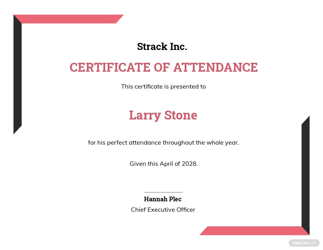 Free Simple Attendance Certificate Template