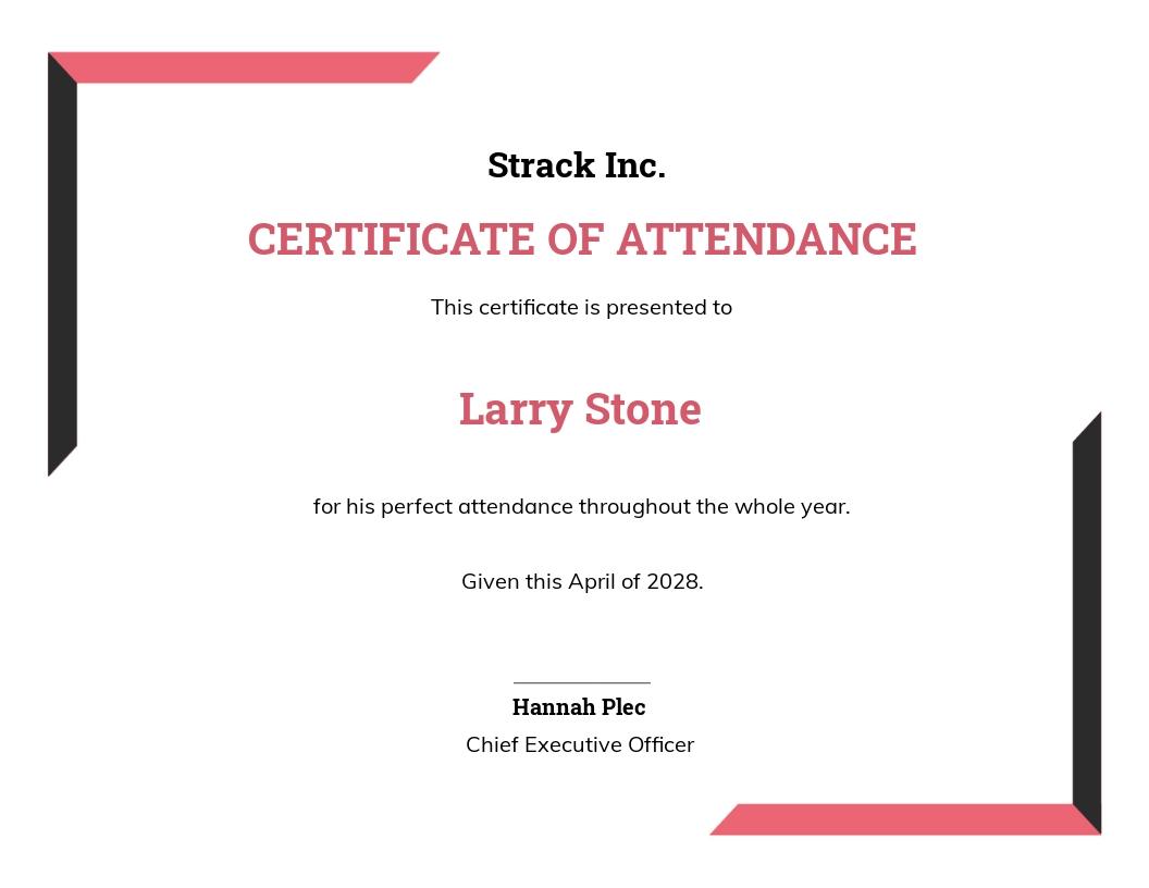 Simple Attendance Certificate Template
