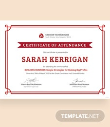 Simple Attendance Certificate Template