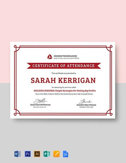 Free Simple Attendance Certificate Template