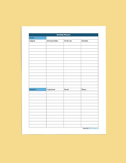 Printable Media Planner Download