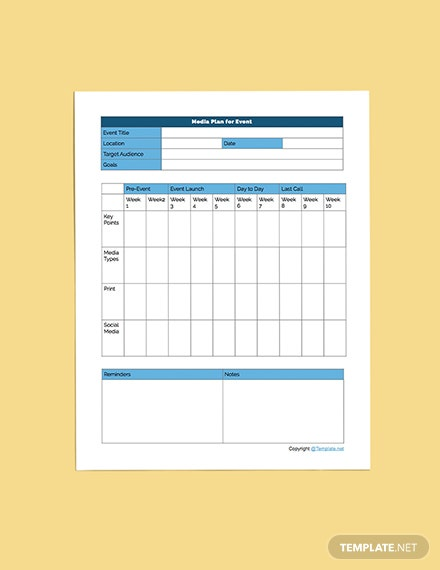 Printable Media Planner Editable