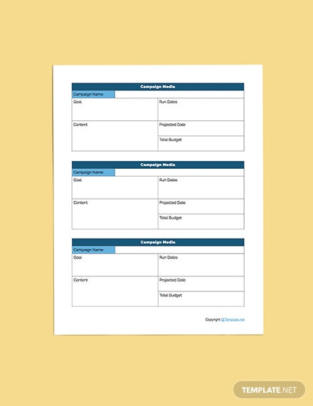 Printable Media Planner Sample