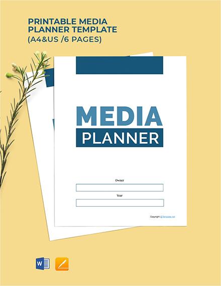 Free Printable Media Planner Template