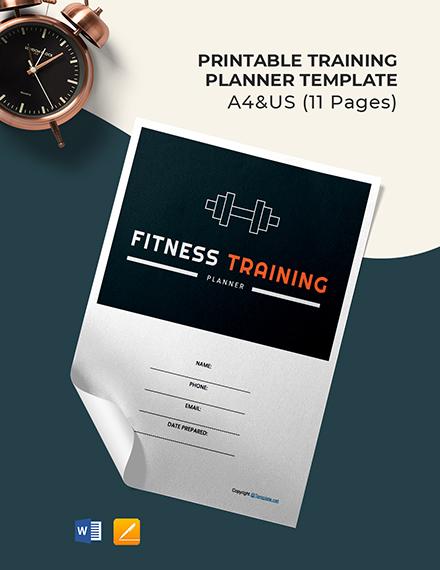 Free Printable Training Planner Template