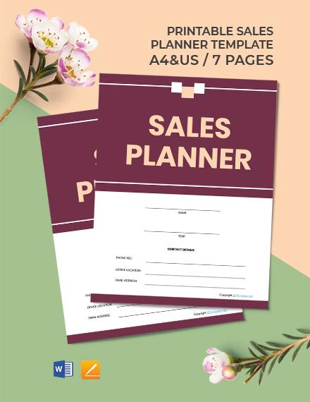 Free Printable Sales Planner Template