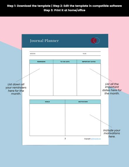 Printable Journal Planner Printable