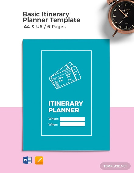 Free Basic Itinerary Planner Template