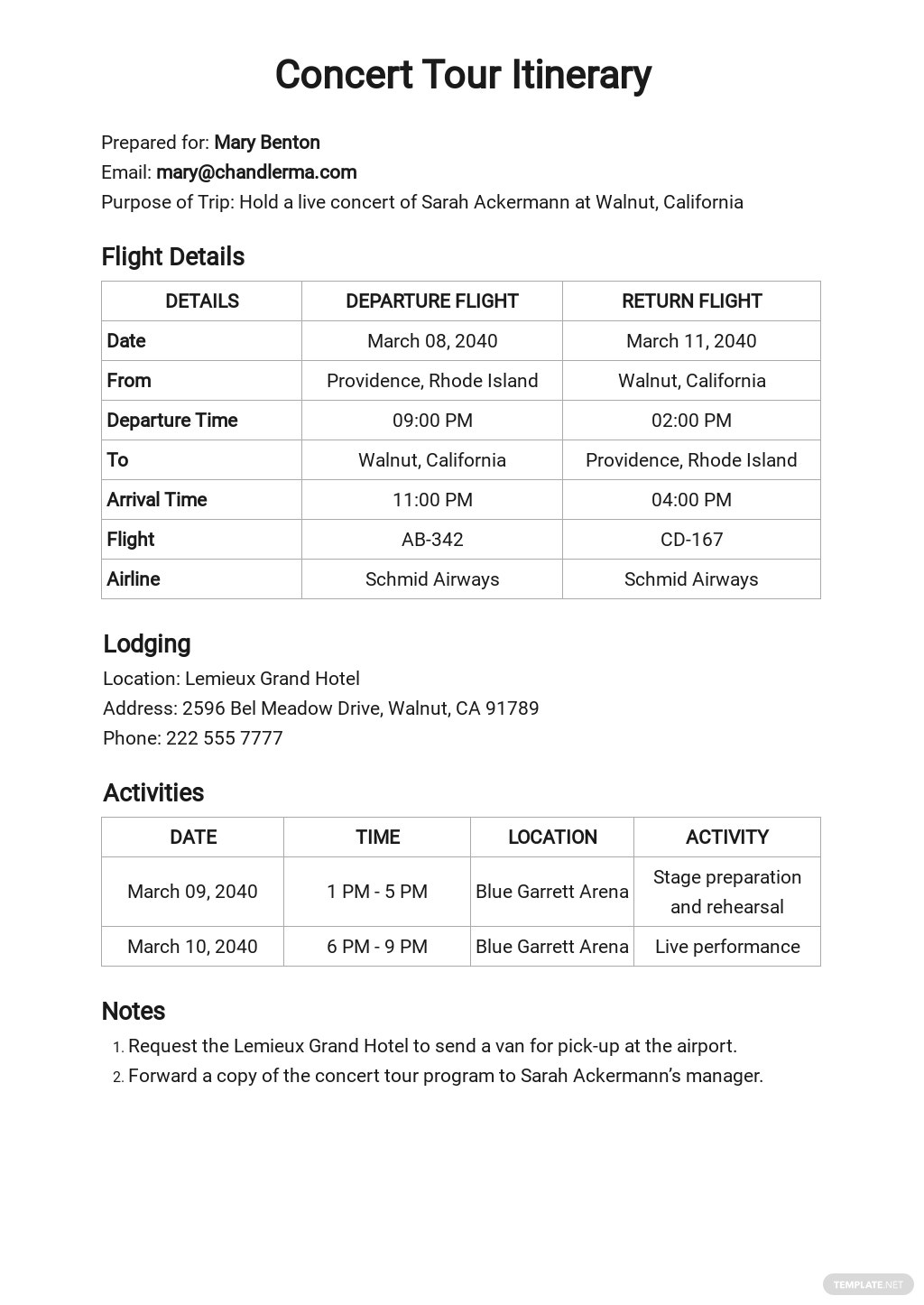 Free Basic Itinerary Planner Template.jpe