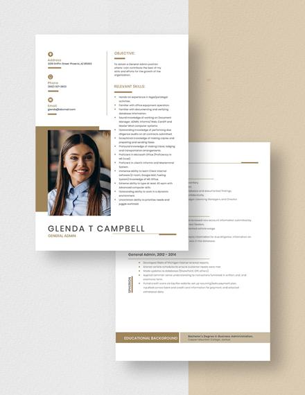 General Admin Resume Download