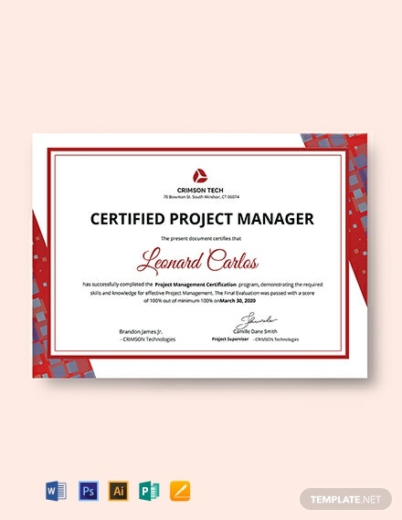 Free Professional Project Management Certificate Template