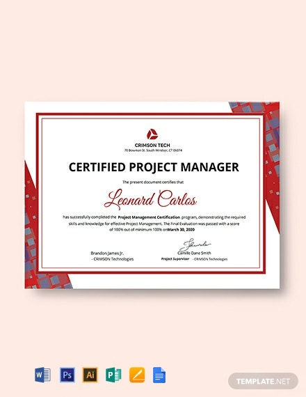 Professional Project Management Certificate Template