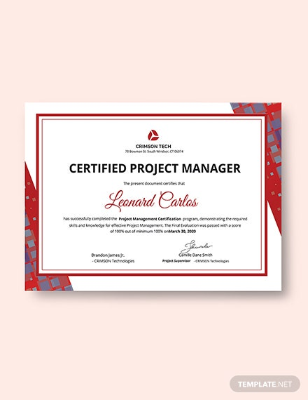 Professional Project Management Certificate Template: Download 200+ ...