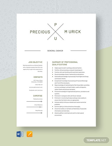 General Cashier Resume Template