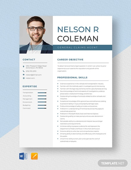 General Claims Agent Resume Template