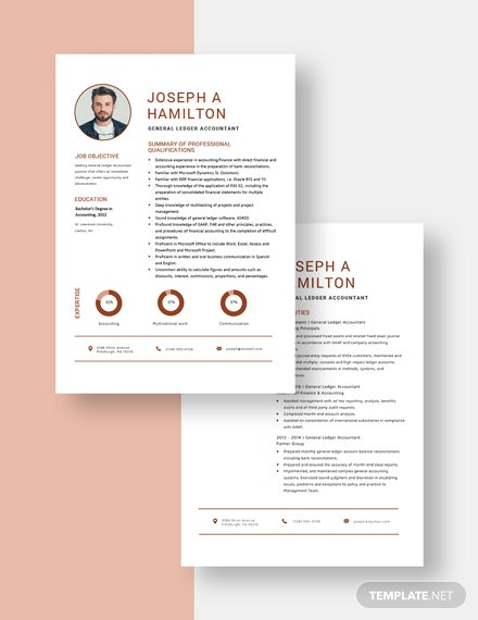 general ledger accountant resumecv template  word doc