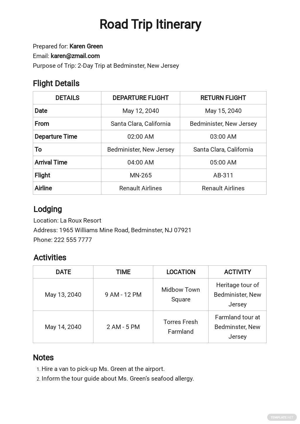 Free Editable Itinerary Planner Template.jpe