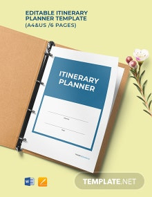 Free Editable Itinerary Planner Template