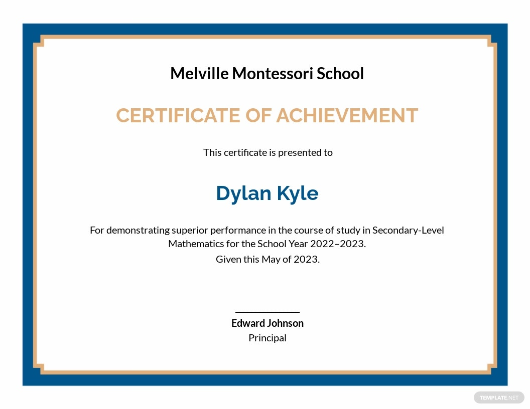 Student Achievement Certificate Template