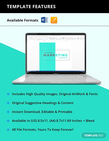 Printable Marketing Planner Instruction