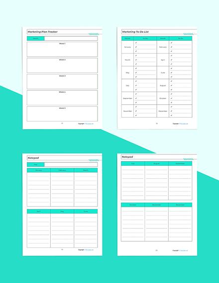 Printable Marketing Planner Marketing Plan Tracker