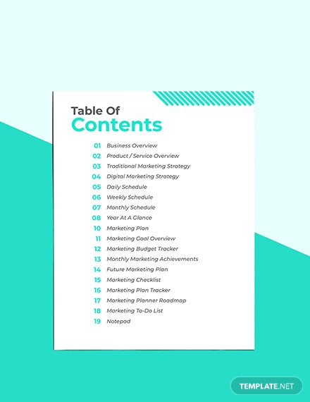 Printable Marketing Planner Sample