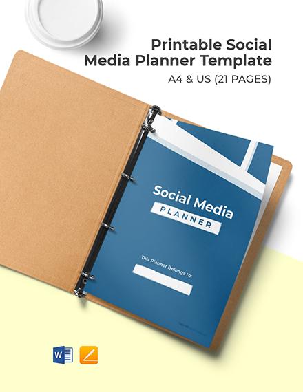 Free Printable Social Media Planner Template
