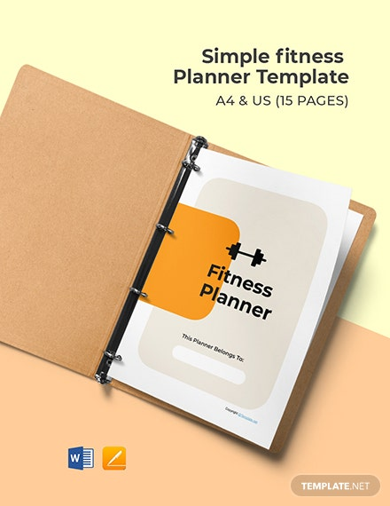 Free Simple Fitness Planner Template