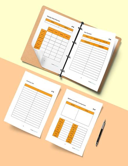Simple Fitness Planner Template Editable