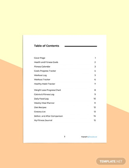 Simple Fitness Planner Template Sample