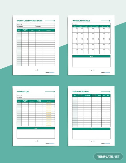 Printable Fitness Planner Example