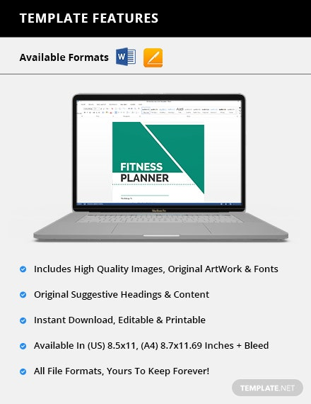 Printable Fitness Planner Features