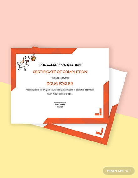 Free Dog Training Certificate Template