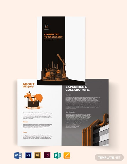 construction company profile bifold brochure template 440